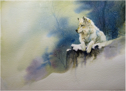 Karen Lenhart artist, Snow Wolf watercolor painting of a wolf in snow