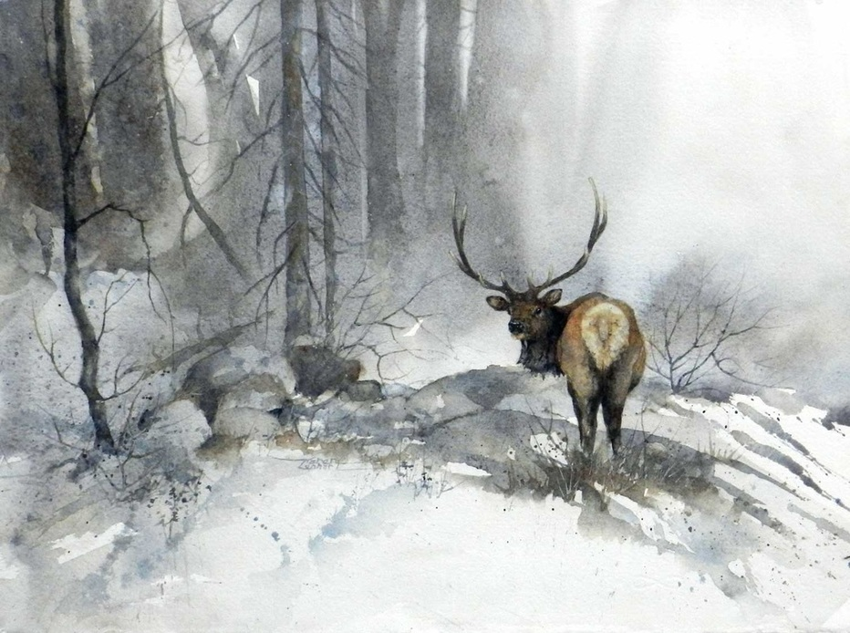 Karen Lenhart artist, High Country watercolor painting of a stag in a snowy landscape