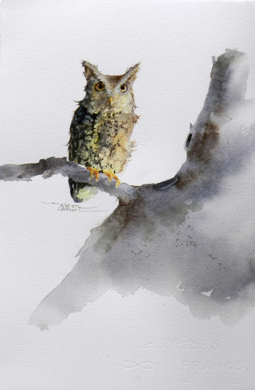 Karen Lenhart artist, Waiting for Sunset watercolor painting of an owl on an white background