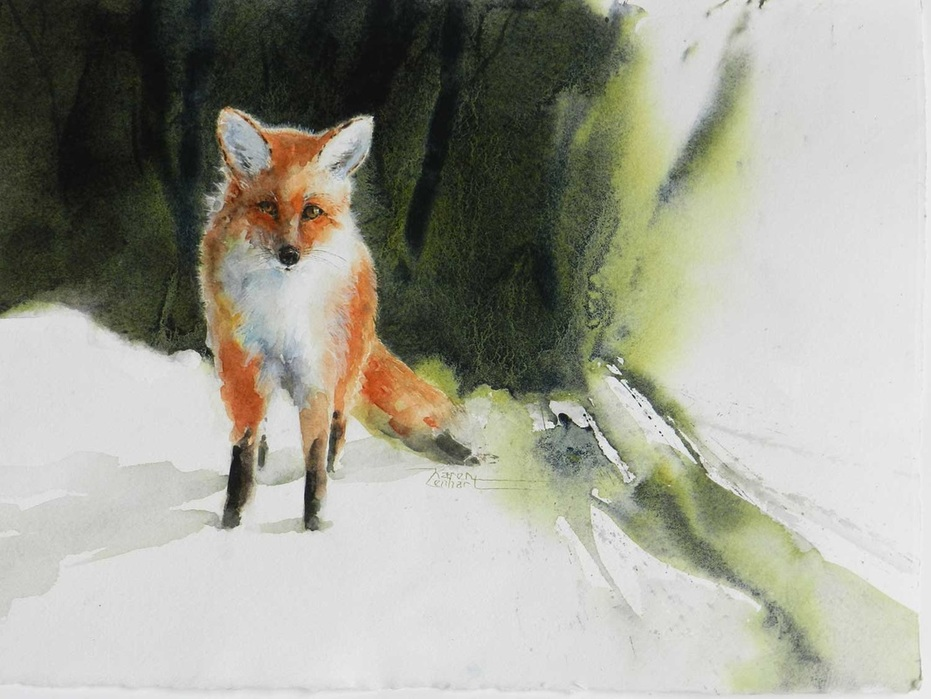 Karen Lenhart artist, Mr. Curiosity watercolor painting of a fox, Giclée Print Available