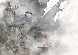 Karen Lenhart artist, The Hush of Fog watercolor painting of a crane on an abstract background, Giclée Print Available